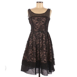ADRIANNA PAPPELL Black Sheer Bodice Lace Dress 8